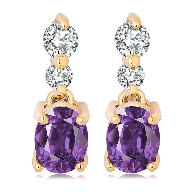 Fashion Simple Fine Zircon Earrings ERZ0185 - PURPLE