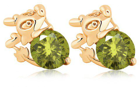 Lovely Little Mouse Exquisite Zircon Earrings ERZ0198 - FOREST GREEN
