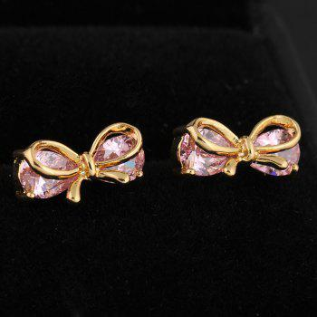 Fashionable Bowknot Fine Zircon Earrings ERZ0203 - PINK
