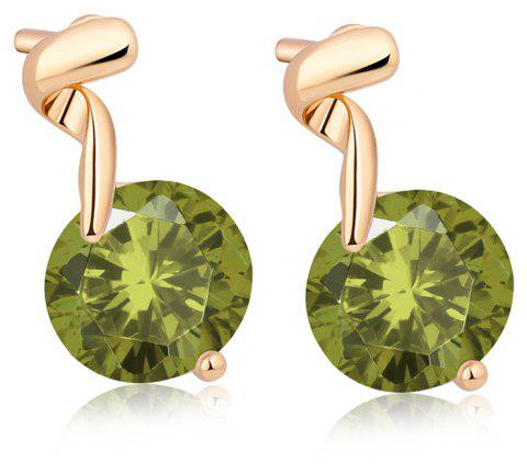 Rotation Tassel Fine Zircon Earrings ERZ0205 - FOREST GREEN