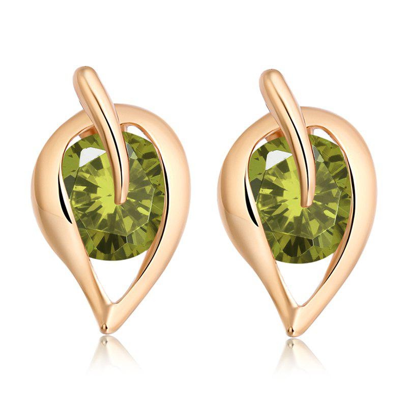 Fashionable Leaf Fine Zircon Earrings ERZ0206 - FOREST GREEN