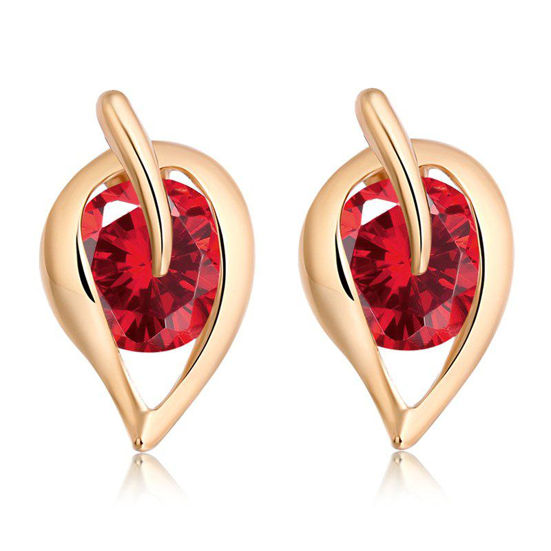 Fashionable Leaf Fine Zircon Earrings ERZ0206 - RUBY RED