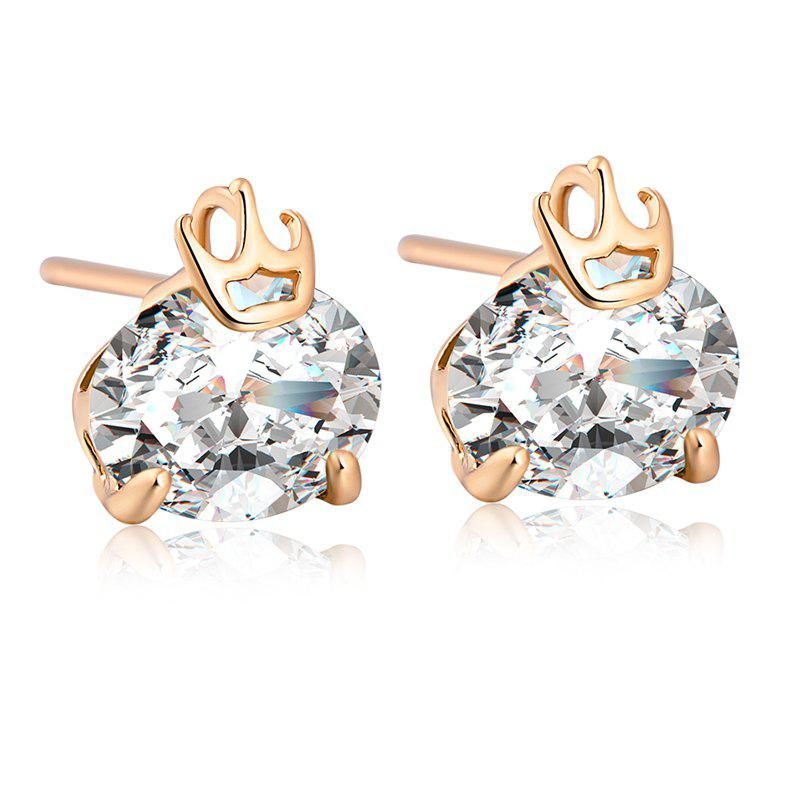 Personality Crown Fine Zircon Earrings ERZ0208 - WHITE