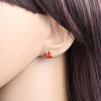 Personality Crown Fine Zircon Earrings - RUBY RED
