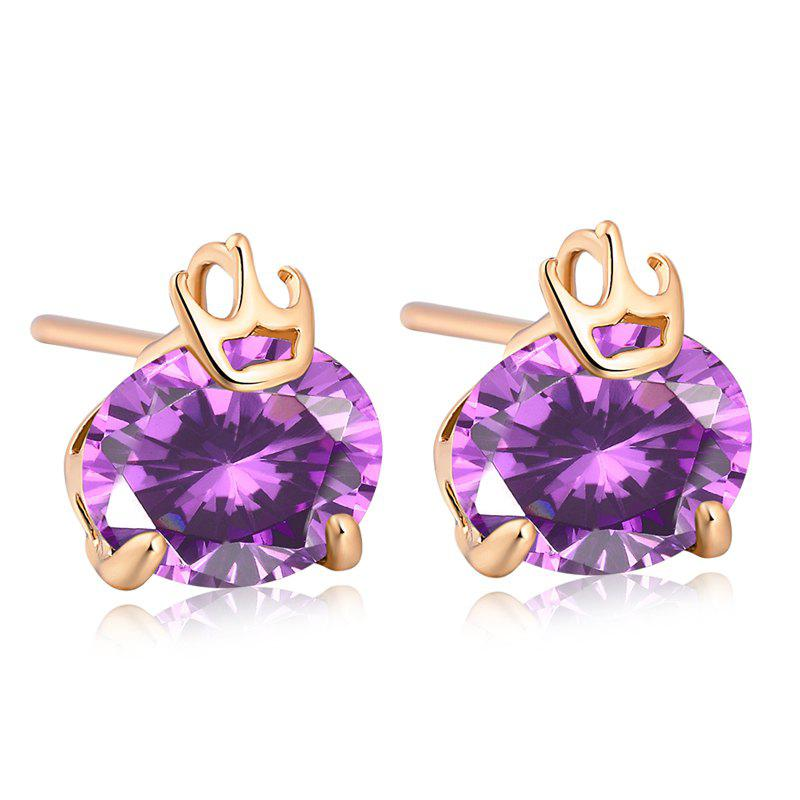 Personality Crown Fine Zircon Earrings - PURPLE
