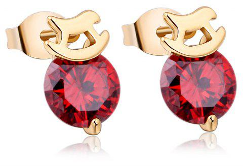 Personality Trojan Horse Fine Zircon Earrings ERZ0211 - RUBY RED