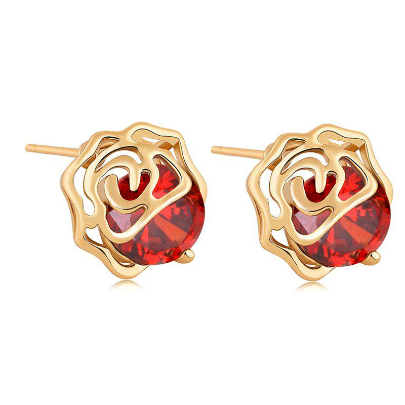 Fashion Petals Fine Zircon Earrings ERZ0216 - RUBY RED
