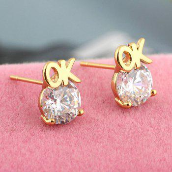 Simple Letters Exquisite Zircon Earrings ERZ 0217 - WHITE