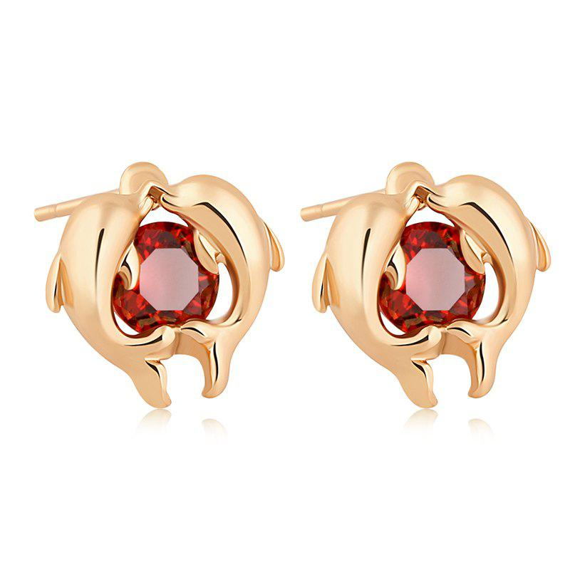 Dolphin Bay's Exquisite Zircon Earrings ERZ0220 - RUBY RED