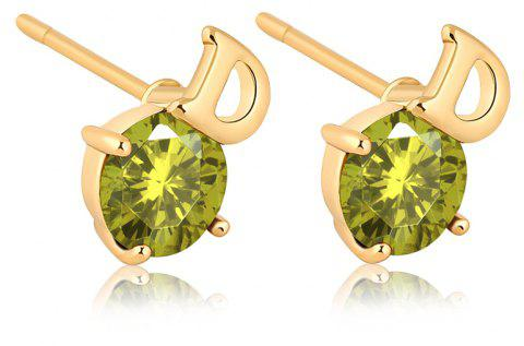 Simple Letters Exquisite Zircon Earrings ERZ0221 - FOREST GREEN