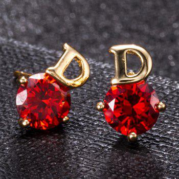 Simple Letters Exquisite Zircon Earrings ERZ0221 - RUBY RED
