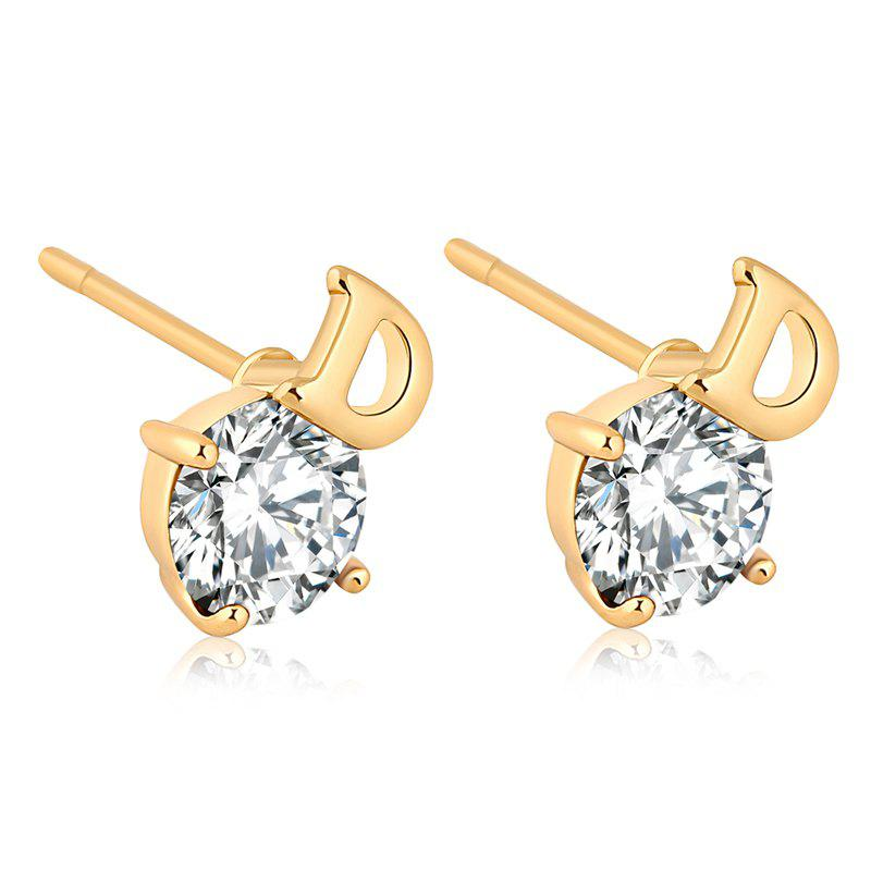 Simple Letters Exquisite Zircon Earrings ERZ0221 - WHITE