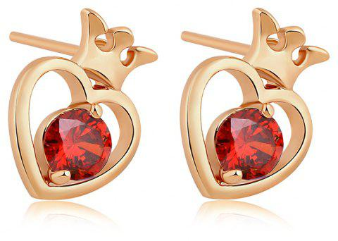 Hollow Out the Heart Shape Fine Zircon Earrings ERZ0222 - RUBY RED