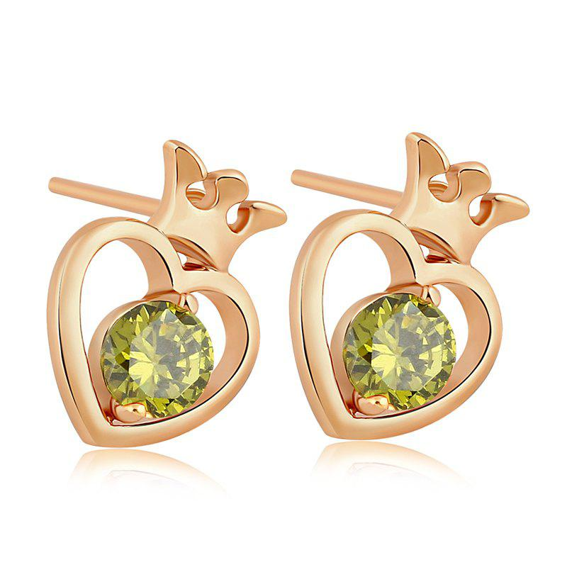 Hollow Out the Heart Shape Fine Zircon Earrings ERZ0222 - FOREST GREEN