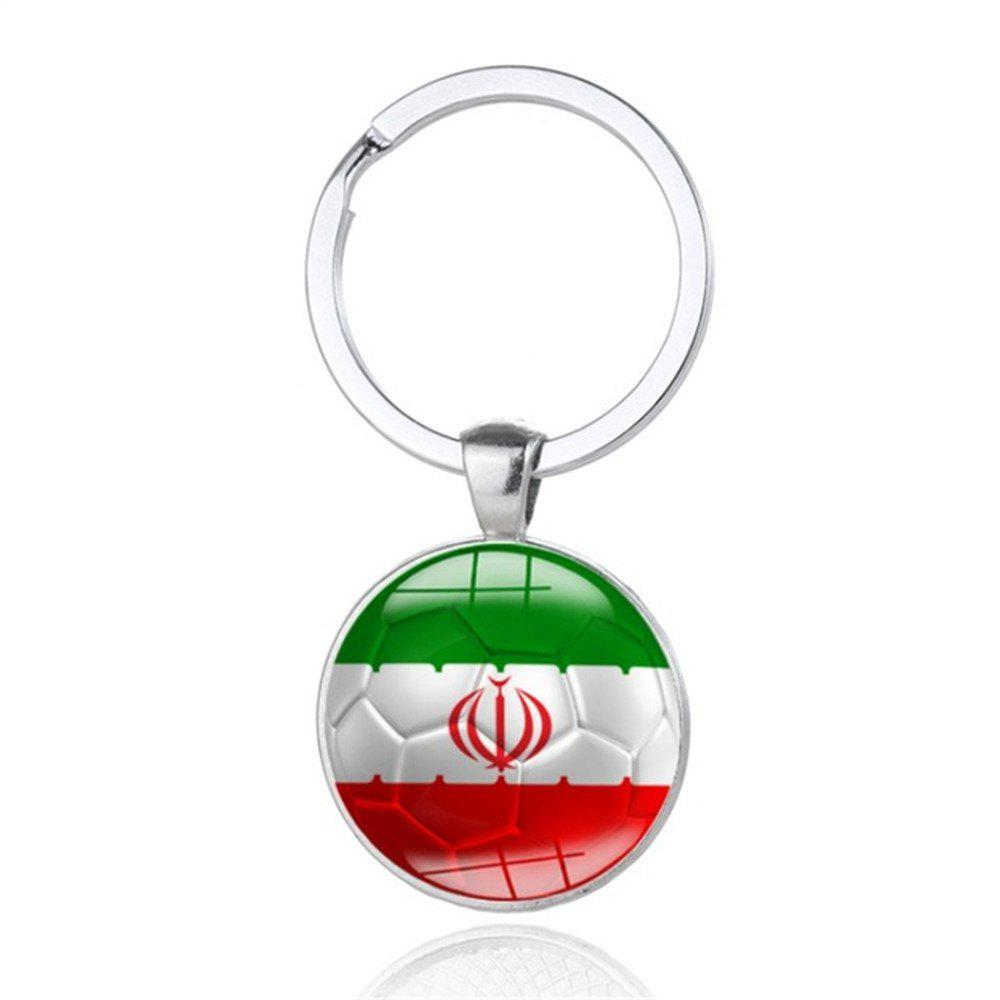 Creative Football Flag Model Keychain Souvenir - multicolor L