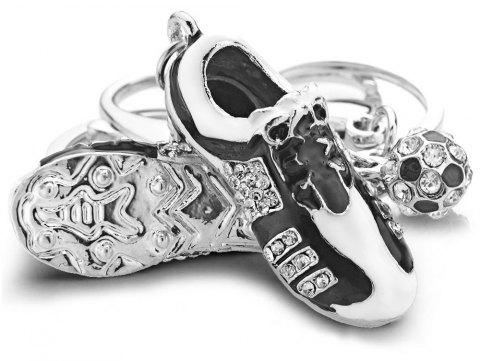 Creative Crystal Football Soccer Shoes Rhinestone Key Chain - SILVER