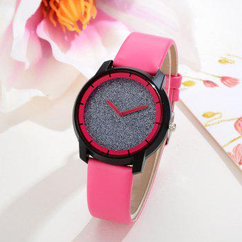 XR2440 Women Simple Analog Quartz PU Leather Wrist Watch - ROSE RED