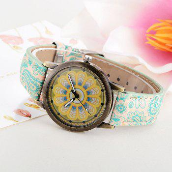 XR2439 Women Fashion Exotic Style Analog Quartz Leather Wrist Watch - BLUE GREEN