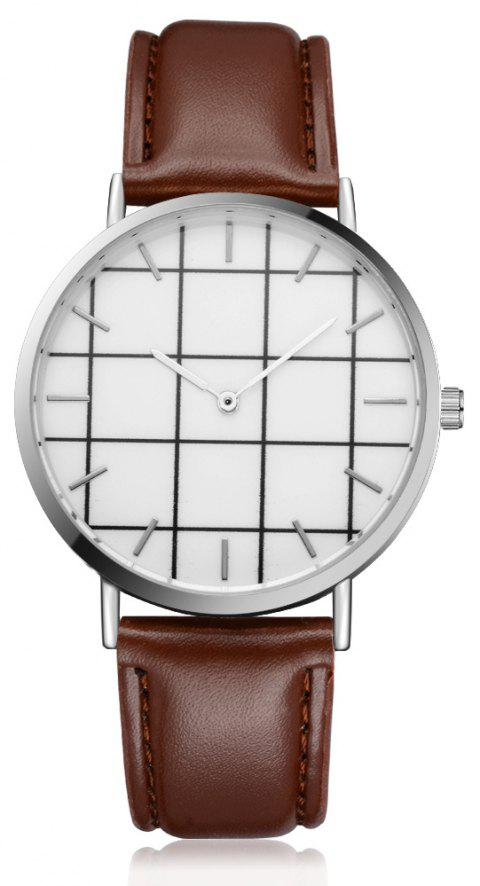 XR2438 Unisex Men Women PU Leather Hand Watch Wristwatches - BROWN