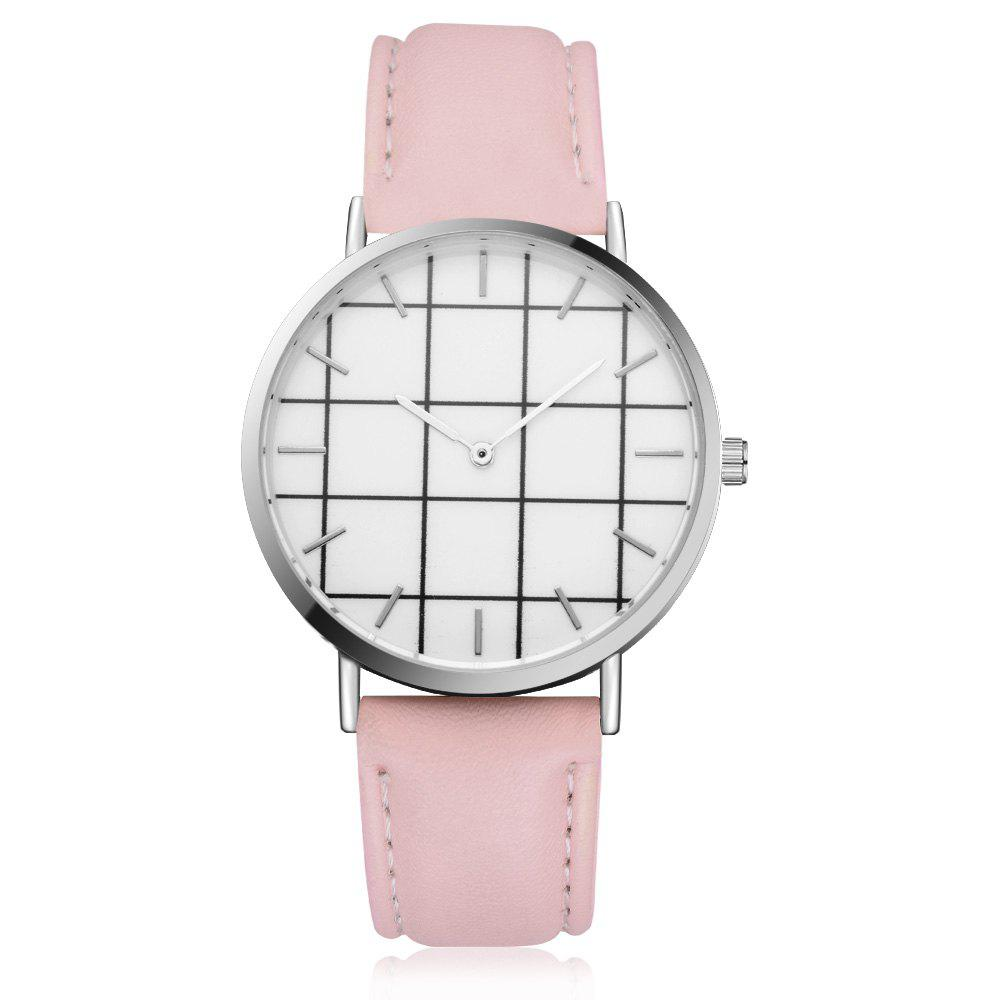 XR2438 Unisex Men Women PU Leather Hand Watch Wristwatches - PINK
