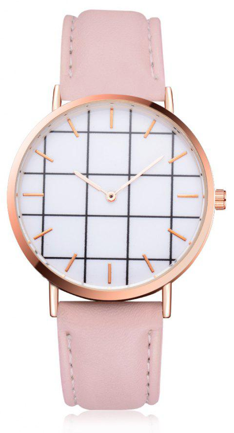 XR2437 Unisex Men Women Rose Gold Bezel Leather Wrist Watch - PINK