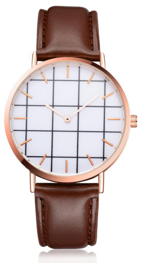 XR2437 Unisex Men Women Rose Gold Bezel Leather Wrist Watch - BROWN