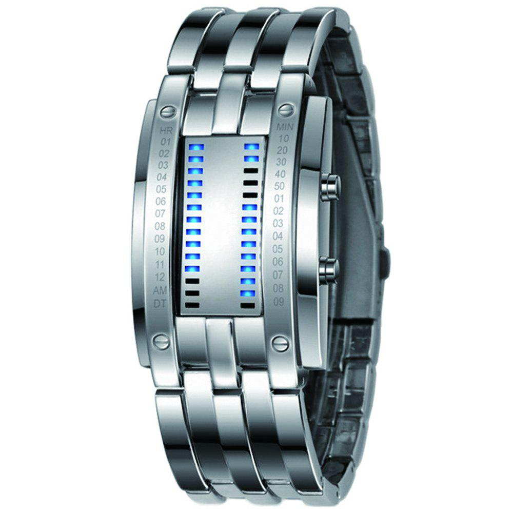 Luxury Unique Creativ Men Blue Binary Stainless Steel Digital Electronic Watches - WHITE