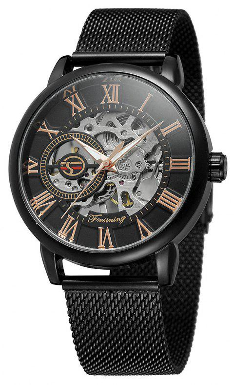 MGORKINA Men Luxury Skeleton Stainless Steel Military Sport Mechanical Watch - multicolor A