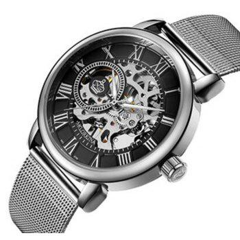 MGORKINA Men Luxury Skeleton Stainless Steel Military Sport Mechanical Watch - PLATINUM