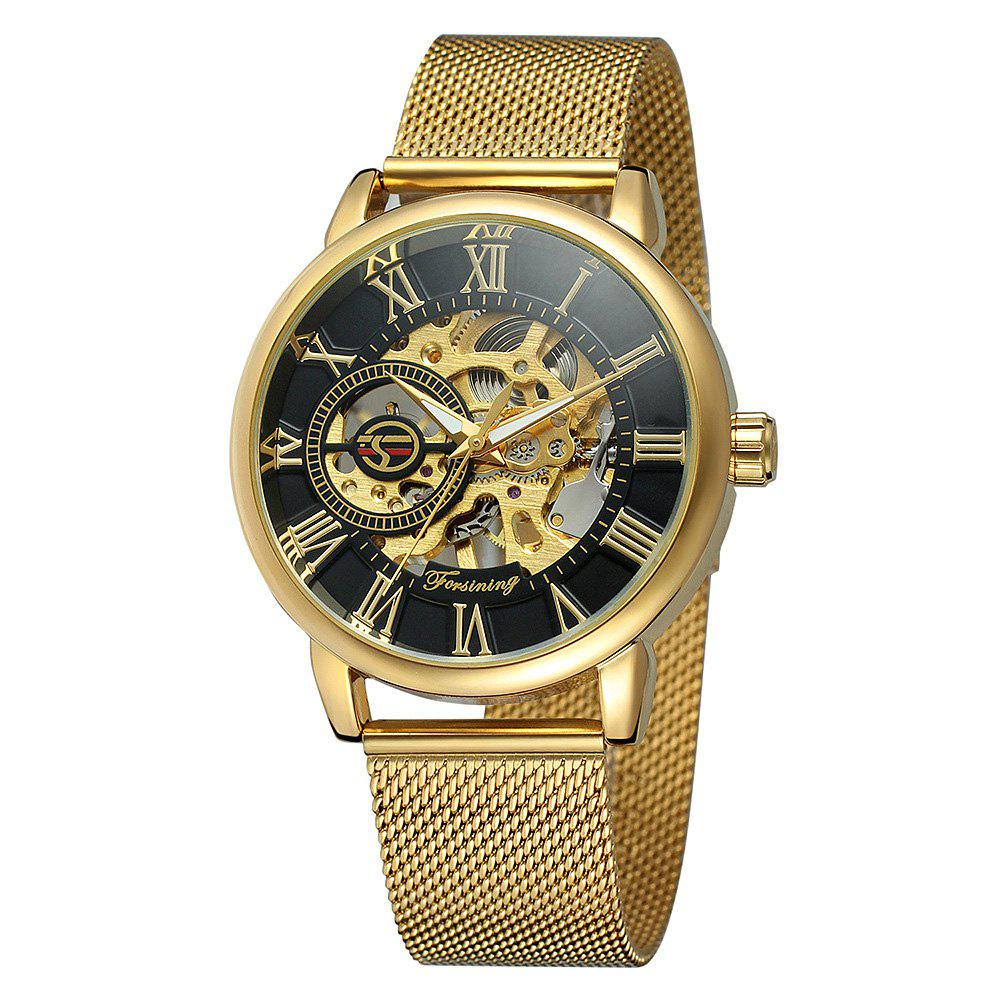 MGORKINA Men Luxury Skeleton Stainless Steel Military Sport Mechanical Watch - SAND