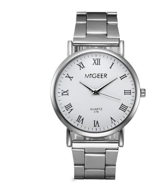 Migeer Fashion Luxury Business Roman Numerals Dress Watch - SILVER