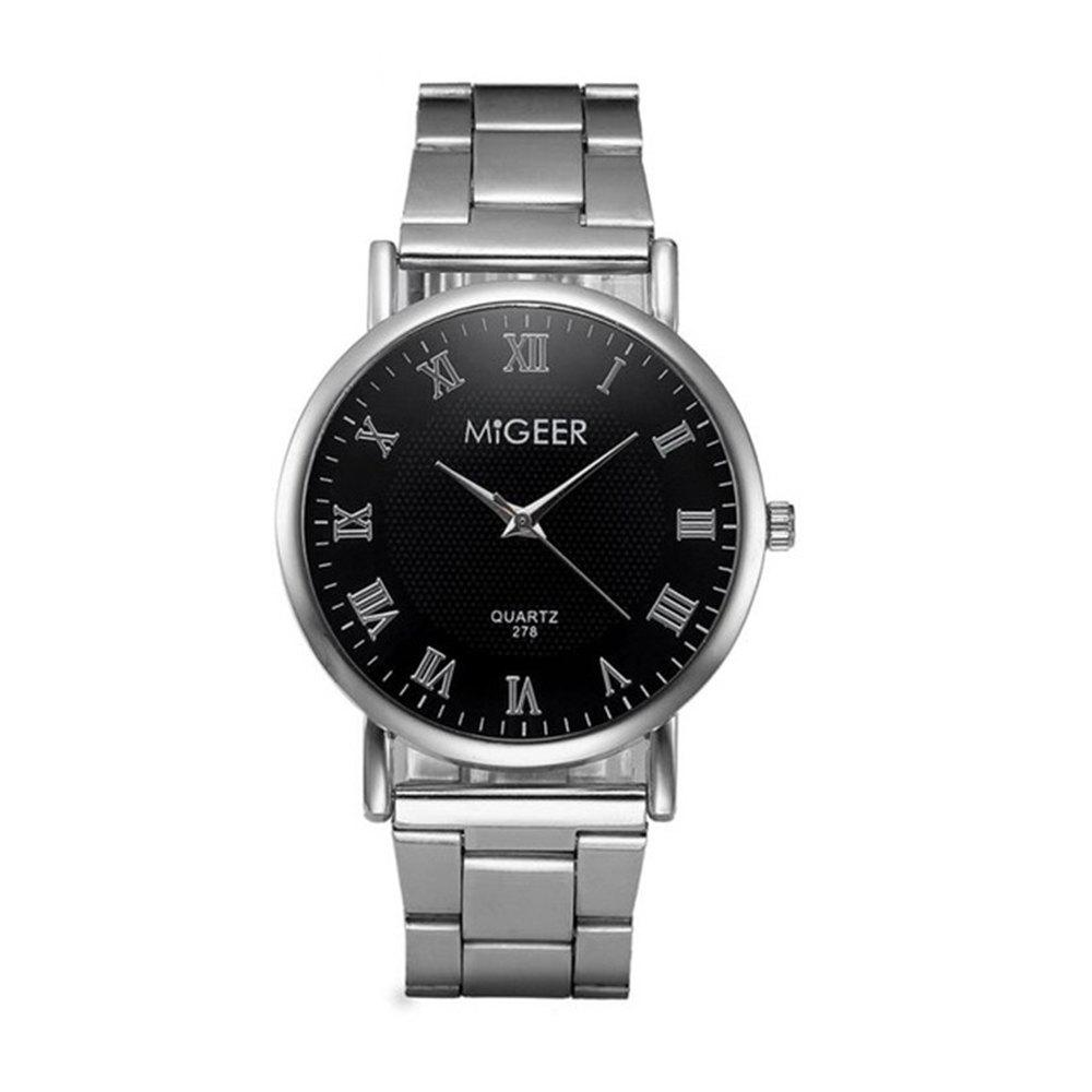 Migeer Fashion Luxury Business Roman Numerals Dress Watch migeer relogio masculino luxury business wrist watches men top brand roman numerals stainless steel quartz watch mens clock zer