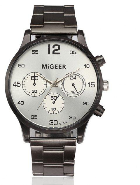 Migeer Vintage Casual Large Dial Stainless Steel Analog Fashion Watch - SILVER