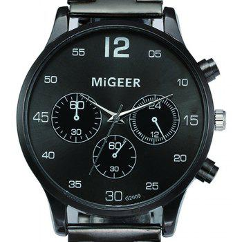 Migeer Vintage Casual Large Dial Stainless Steel Analog Fashion Watch - BLACK