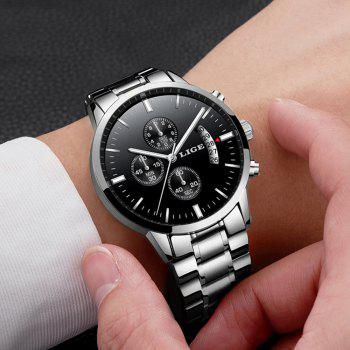 LIGE Men Luxury Brand Chronograph Men Sports Waterproof Watch - PLATINUM