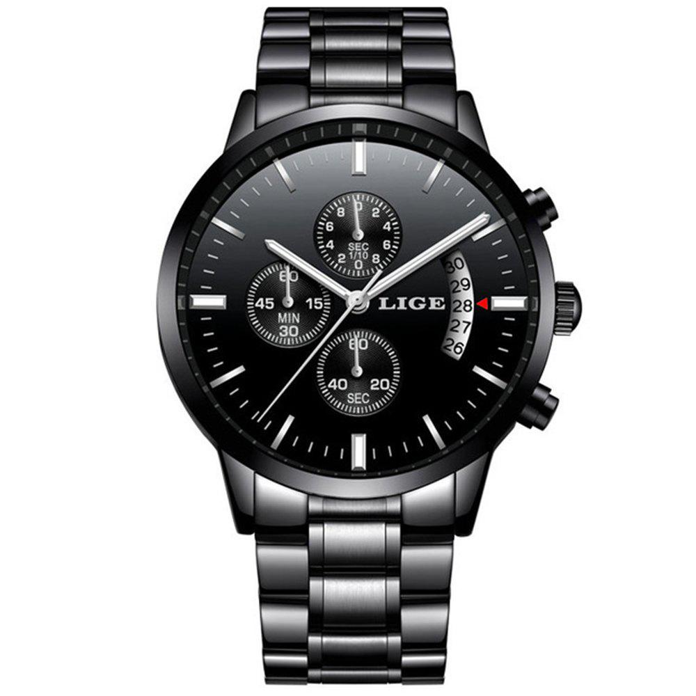 LIGE Men Luxury Brand Chronograph Men Sports Waterproof Watch - BLACK