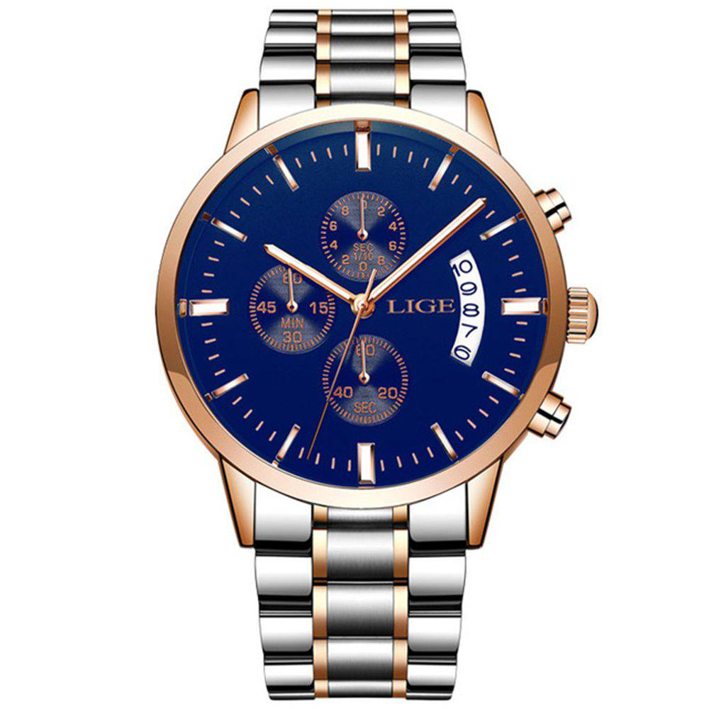 LIGE Men Luxury Brand Chronograph Men Sports Waterproof Watch - OCEAN BLUE