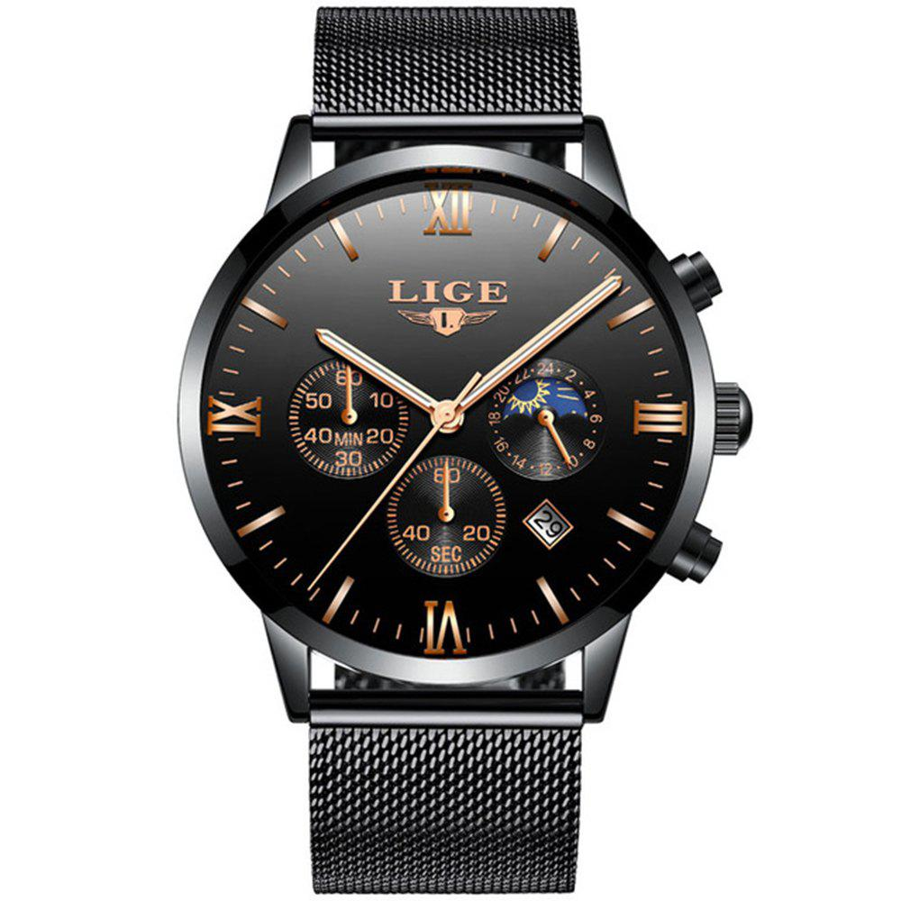 LIGE Men Watches Luxury Brand Multi Function Mens Sport Quartz Watch Man mens watches top brand luxury lige moon phase full steel watch man business fashion quartz sports men watches relogio masculino