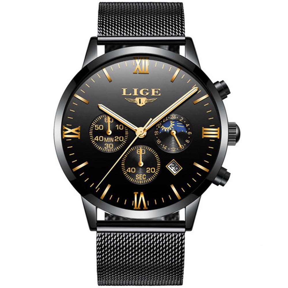 LIGE Men Watches Luxury Brand Multi Function Mens Sport Quartz Watch Man - BLACK