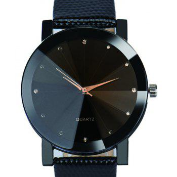 Luxury Simulated Diamon Quartz Sport Casual Creative Clock Fashion Watch - BLACK