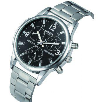 Migeer Fashion Men Casual Three Sub Dial Stainless Steel Dress Watch - BLACK