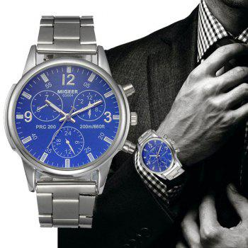 Migeer Fashion Men Casual Three Sub Dial Stainless Steel Dress Watch - COBALT BLUE