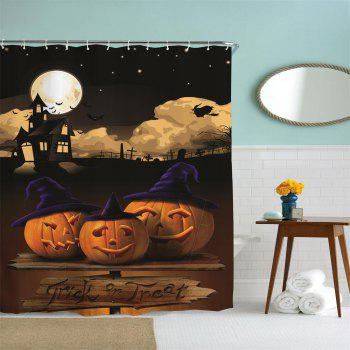 Moonlight Pumpkin Water-Proof Polyester 3D Printing Bathroom Shower Curtain - multicolor A W71 INCH * L71 INCH