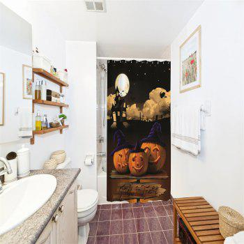 Moonlight Pumpkin Water-Proof Polyester 3D Printing Bathroom Shower Curtain - multicolor A W71 INCH * L79 INCH