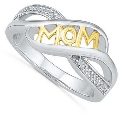 Rhinestone Heart Shaped Mom Separation Ring - YELLOW US SIZE 8
