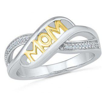 Rhinestone Heart Shaped Mom Separation Ring - YELLOW US SIZE 5