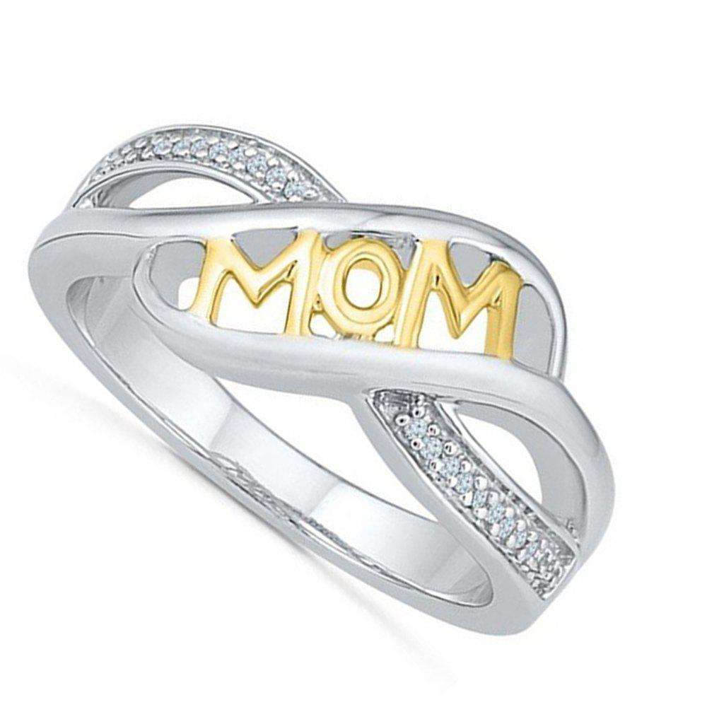 Rhinestone Heart Shaped Mom Separation Ring - YELLOW US SIZE 9
