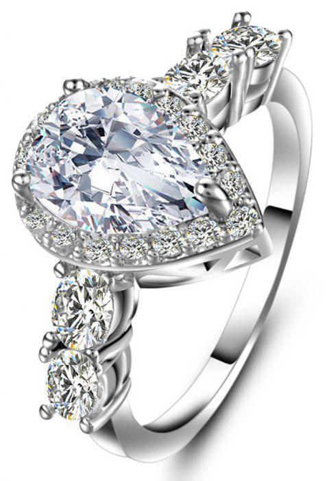 Artificial Diamond Drop Zircon Ring - WHITE US SIZE 6