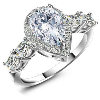 Artificial Diamond Drop Zircon Ring - WHITE US SIZE 8