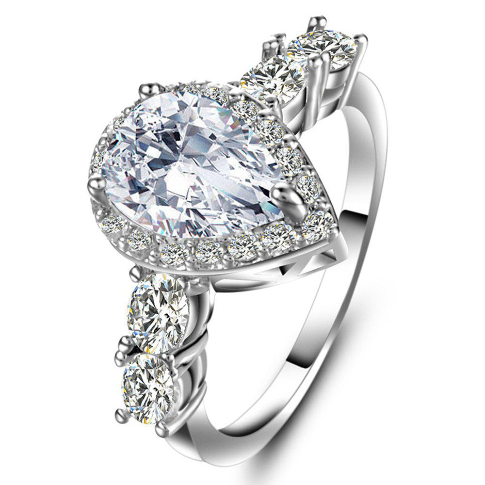 Artificial Diamond Drop Zircon Ring - WHITE US SIZE 7